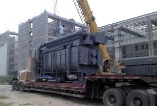 郑州市儿童医院大型空调机组的吊装搬运就位